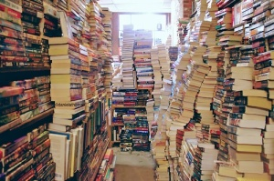 With enough books, you can also construct elaborate mazes to slow down zombies.  Especially if the zombies are bookworms.