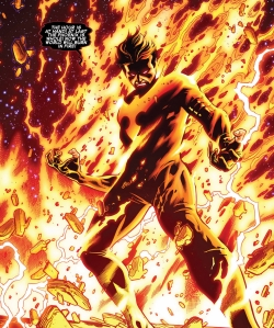 "This is his literal ""blaze of glory"" moment.  He takes on the entire Avengers like this, and he wins."